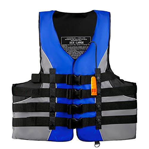 Leader Accessories Adult Universal USCG Approved Life Jacket Vest (Blue, 3XL)