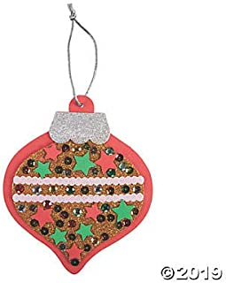 Fun Express Sequin Christmas Ornament Foam Craft Kit-Makes 12-Great Craft for Kids