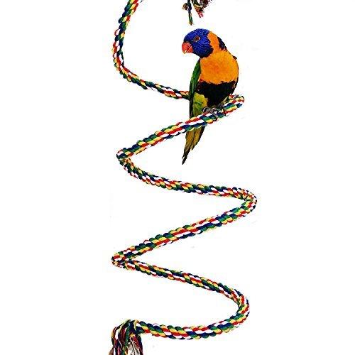 Gobig 大中小型インコ ロープパーチ 布製止まり木 ブランコ ゆらゆら 脚に優しいタッチ オウム 鳥用 ロープ 遊びおもちゃ (2m)