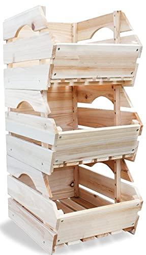 Set di 3 grandi scaffali in legno grezzo impilabili per frutta e verdura (cassetta impilabile)