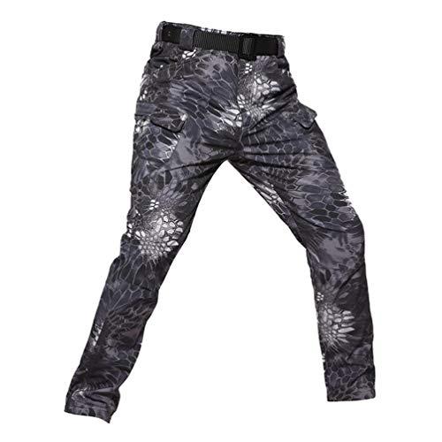 YuanDian Hombre Militar Tactico Camuflaje Pantalon Softshell Forro Polar Espesar Otoño Invierno Outdoor Combate Trekking Alpinismo Montaña Senderismo Impermeables Pantalones