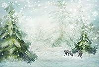 HD 7x5ft雪が降る冬のワンダーランドの背景おとぎ話の雪景色降る雪片採餌エルクの赤ちゃんトナカイ雪に覆われたクリスマスツリーの背景写真撮影の小道具