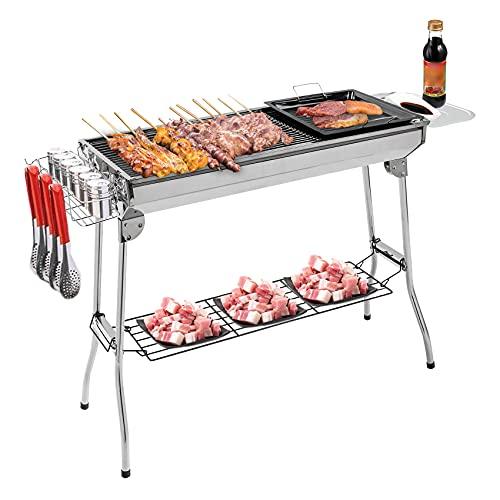 IKAYAA Barbecue a Carbone Portatile,Barbecue Griglia a Carbone Professionale per 5-10 Persone,Barbecue Pieghevole per BBQ,Utensile BBQ Grill,per Picnic all'aperto Giardino Terrazza Campeggio
