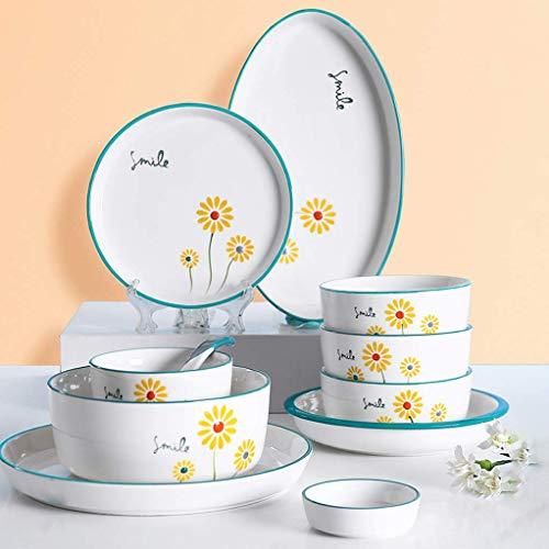 Nuevos juegos de vajilla, juego de vajilla de cerámica, juego de cena de porcelana con diseño creativo de margaritas de 52 / juegos de platos y cuencos de estilo simple para reuniones familiares y res