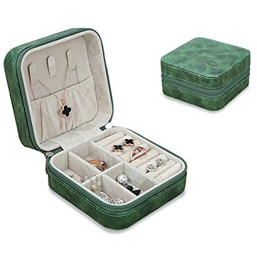 PLUS PO Joyero de viaje para niños, organizador de joyas creativo, de gran capacidad, caja de joyería pequeña, caja de pendientes, organizador de color verde oscuro