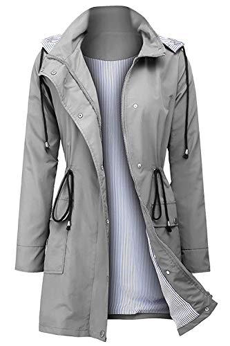 Arthas Women Light Rain Jacket Waterproof Active Outdoor Trench Raincoat with Hood Lightweight Plus Size for Girls (Grey, XL).