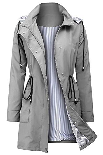 Arthas Women Light Rain Jacket Waterproof Active Outdoor Trench Raincoat with Hood Lightweight Plus Size for Girls (Grey, XXL)