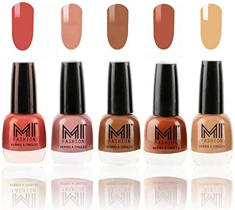MI Fashion® Ultimate Nude Nail Polish New Shades Combo in 5 Unique Shades - Peach, Candy Cotton, Dark Nude, Olive Brown, Flirty Nude product image