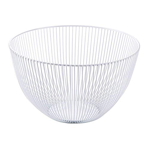 Fruit Basket Round Black Metal Fruits légumes Oeufs Pain de Stockage Bowl Porte-Support for Cabinet de Cuisine et Garde-Manger récipient (Color : White)