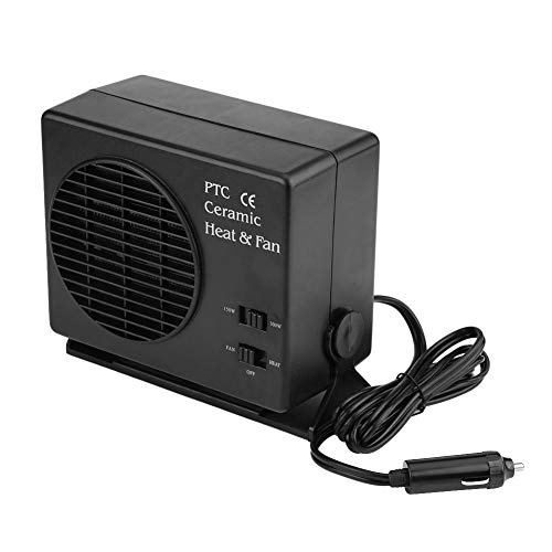 Calefactor Coche Negro 12V 300W, Calefactor Coche Potente, Calefacción y Refrigeración 2 en 1 con Interruptor, Poco Ruido