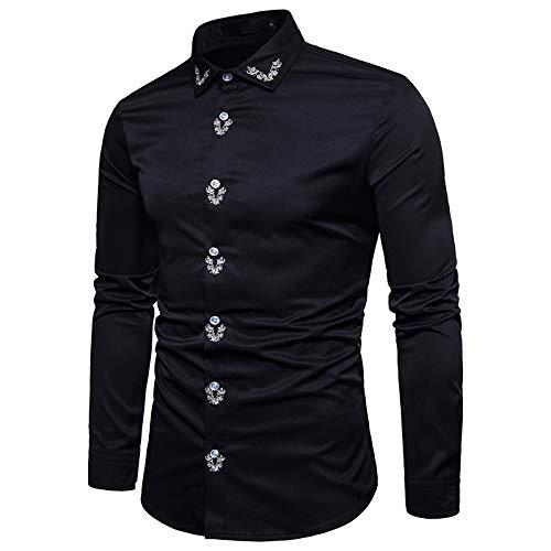 Camisas para Hombre Camisas de Manga Larga con Bordado de Personalidad Europea y Americana Camisas Casuales de Moda de Color slido Delgado XL