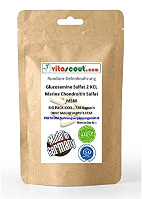 Glucosamine Sulphat 2 KCL - Marine Chondroitin Sulphat - MSM - 720 hochdosierte Formel Kapseln - Rundum-Gelenknahrung