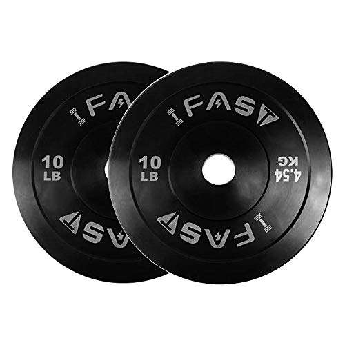 IFAST Olympic Bumper Weight Plates 2-Inch Color Coded Rubber Plate with Steel Hub Rubberized Weightlifting Barbell Plates 10LB (Pair (10LB + 10LB))