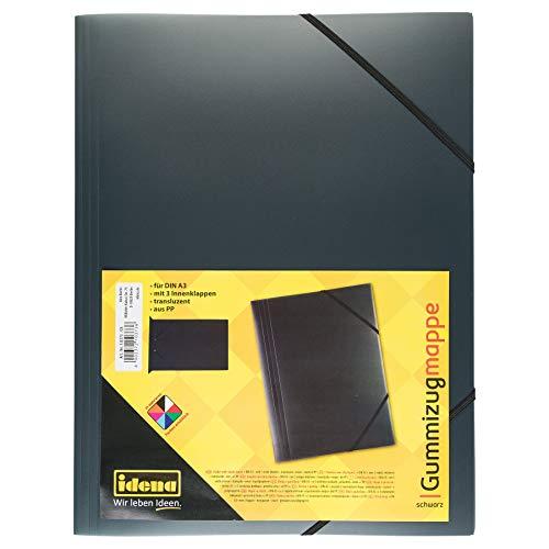 Idena 10373 - Gummizugmappe DIN A3, PP, transluzent schwarz, 1 Stück