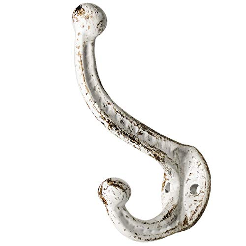 Sopicoz White Coat Hooks for Wall Cast Iron Farmhouse Hooks Set of 4 Rustic Wall Mounted Decorative Hooks for Hats, Coats, Bags,Towels, Heavy Pans