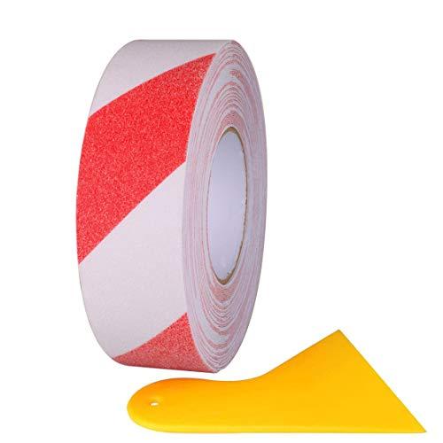 Gebildet 20m×5cm Cinta Adhesiva Antideslizante, Cinta Antideslizante que Mejora el Agarre, Pegatina de Seguridad Adhesiva Fuerte, Rojo y Blanco (con Escobilla de Goma de PP Amarilla)