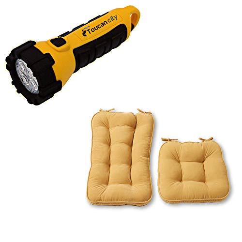 Toucan City LED Flashlight and Greendale Home Fashions Hyatt Cream 2-Piece Jumbo Rocking Chair Cushion Set JR5161-CREAM