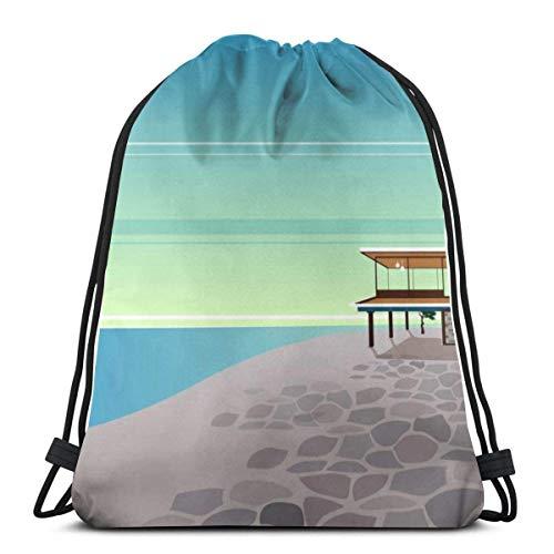 Lsjuee Seaside Home Mochila Deportiva para niños y Mujeres, Bolsa de Viaje para natación, Deporte, Playa