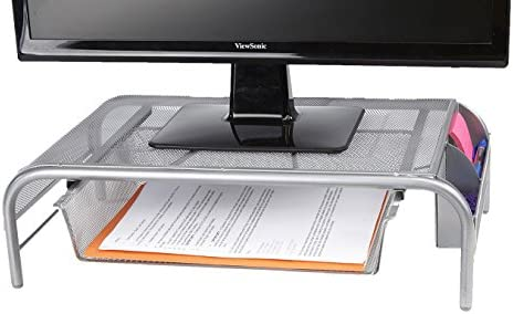 Mind Reader Metal Mesh Monitor Stand Silver product image