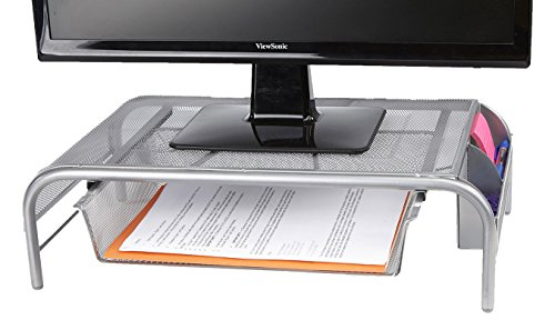 Mind Reader Metal Mesh Monitor Stand, Silver