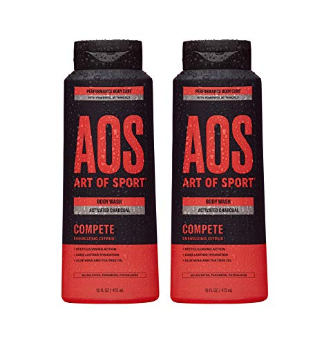 Art of Sport Activated Charcoal Body Wash for Men (2-Pack) - Compete Scent - Energizing Citrus Fragrance - Natural Botanicals Tea Tree Oil, Aloe Vera - Intensely Moisturizing - Sulfate Free - 16 fl oz