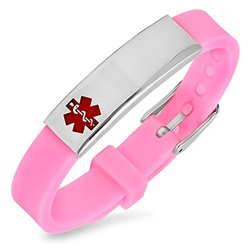 AOMZO JEWELRY Free Engraving Stainless Steel and Pink Rubber Medical Alert ID Bracelets Ajustable Size