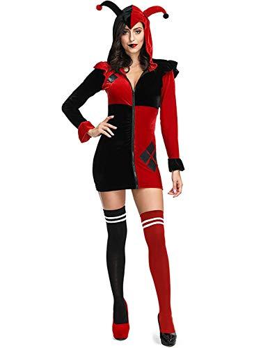 Monissy Damen Harley Quinn Kleid mit Kapuze Halloween Clown Kostüm Harlekin Kostüm Sexy Cosplay Kleid Zirkus Kostüm für Karneval Umzug Fasching Verkleidung Party One Size Schwarz-Rot