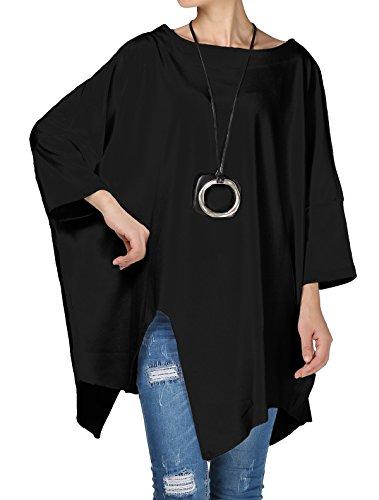 Vogstyle Mujer Primavera/Otoño de Cuello Alto Color Sólido Irregular Top Negro L