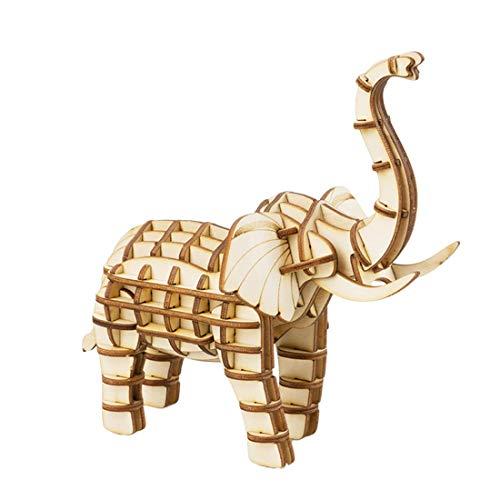 ALLESOK 3D Wood Puzzle, Laser Cut Wooden 3D Jigsaw Puzzles Mechanical Building Model Kit for Kids, Elephant