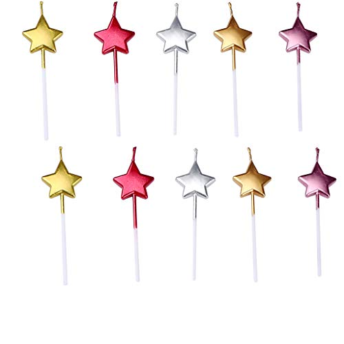 GKanMore 10 Count Metallic Cake Candles Multi-Color Star Cake Candle Topper with Holder for Wedding Party Birthday Cake Decoration (Star Shape)