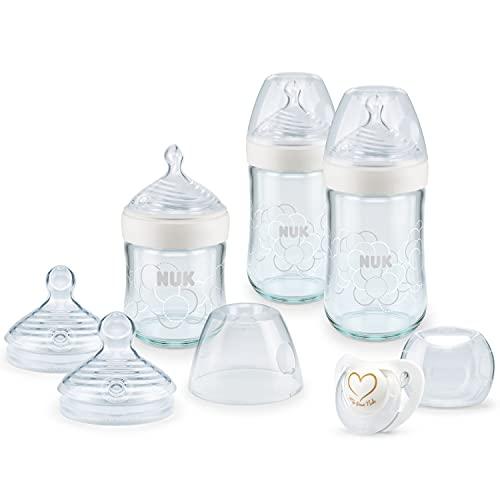 NUK Nature Sense Glasflaschenset | 0–6Monate | 3Anti-Kolik Babyflaschen aus Glas | 2Trinksauger | Genius Schnuller | Gibt gestillten Babys ein natürliches Trinkgefühl | weiß | 6 Stück