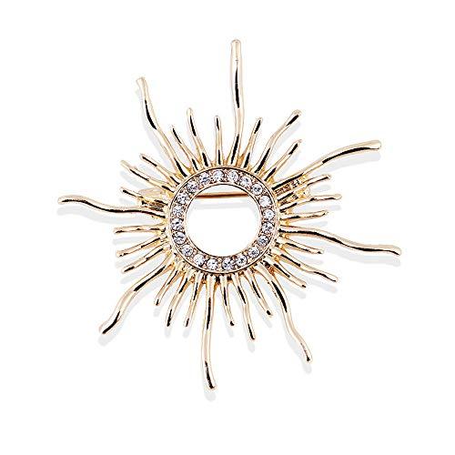 Mcuties Brooch Brosche Brosche Vintage Barock Ring Strass Sun Brosche Kunst Vanity Pin Weiblich