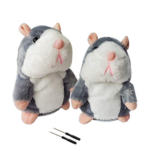 2 Pack Gray Talking Hamster Toy Animal Talking Toys Repeats What You Say Mimicry Pet Talking Record for Boys and Girls