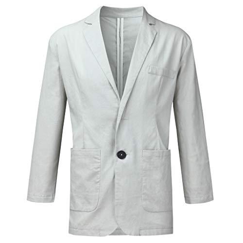HuaCat Knopf Anzugjacke Herren Anzug Leinen Hochzeitsanzug Regular Fit Business Hochzeit Anzug Jacke