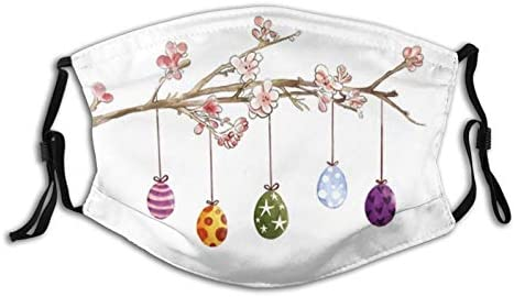 Happy Easter Face Mask Cute Bunny Eggs Masks Washable Reusable Balaclavas with Filter Pocket product image