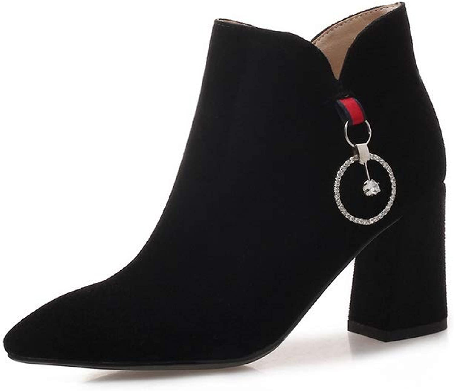 AdeeSu Womens Square Heels Chunky Heels Pointed-Toe Imitated Suede Boots SXE04190