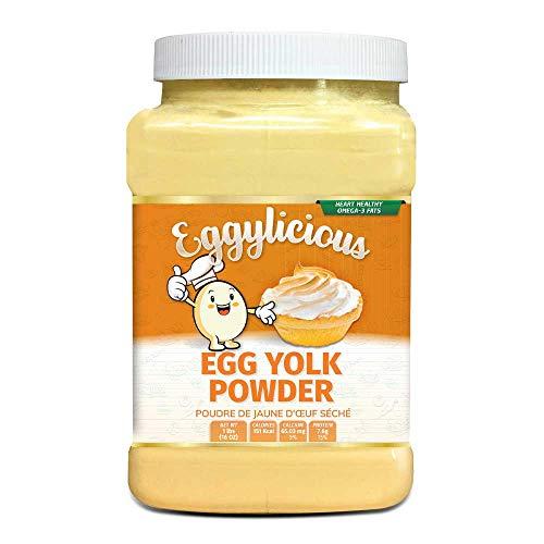 Tuorlo d'uovo eggylicious in polvere, proteine naturali essiccate in polvere, a base di uova fresche, pastorizzate, frullati, non OGM, senza additivi, utilizzate per la cottura, 1 libbre (16 oz)