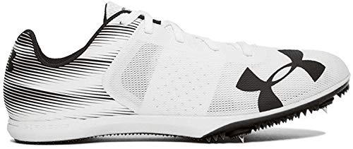Under Armour Men's Kick Distance Spike Running Shoe, White (102)/Black, 10