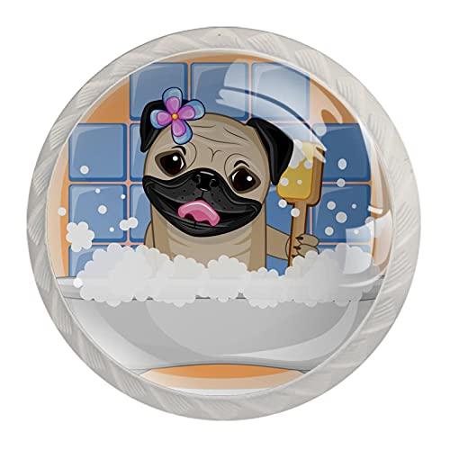 4 stycken skåpknoppar kristallglas lådhandtag, roligt mopp hund badrum, för byrå skrivbord köksdörr