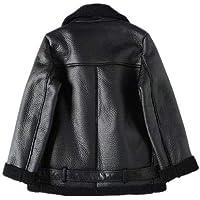 YUESJX - Abrigo de piel sintética para mujer, color beige, con cinturón, cuello descendente, grueso, cálido, abrigado Negro Negro ( L