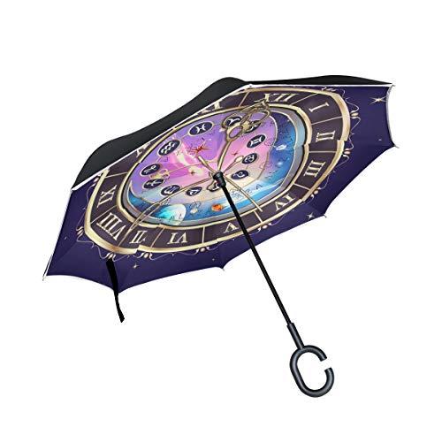 Ahomy Doppelschichtiger umgekehrter Regenschirm, Sternzeichen-Astrologische Uhr, umkehrbarer Regenschirm für Auto und Außenbereich, mit C-förmigem Griff und Tragetasche