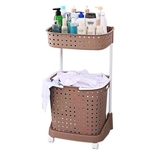 Küchenwagen QIQIDEDIAN Braunes Entfernbares Badezimmer-Regal-Boden-Badezimmer-Speicher-Zahnstangen-Speicher-Riemenscheibe