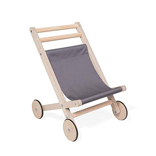 Lauflernwagen für Draußen für Kleinkinder | Puppen Lauflernwagen aus natürlichem Holz | Minimalistisches Design Lauflernwagen Puppenwagen | 100% ECO | Made in EU