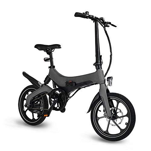 Coolautoparts Bicicleta Eléctrica Plegable 250W 16 Pulgadas Bici de Montaña/Ciudad Ciclomotor de Aluminio Bateria de Litio Frenos de Disco 3 Modos para Adultos Hombres Mujeres [EU Stock]