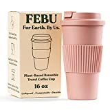FEBU Plant-Based Reusable Coffee Cup with Lid and Sleeve   16oz, Dusty Rose   Portable Travel Mug made from Bamboo   Dishwasher Safe, Compostable, Plastic Free with Leak-Proof Screw-on Lid