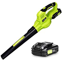 Super Battery Life and Fast Charger ; This cordless leaf blower is equipped with a 20v/2.0ah lithium-ion battery and a fast charger, which takes 1 h to fully charge, you can observe the battery level through the power indicator at any time; This batt...