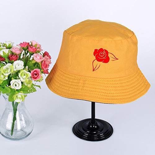 JIACHIHH Sombrero De Pescador Algodón,Impresión De Imágenes De Rosas Rojas Cuchara Sombrero Amarillo Verano Unisex Visera Exterior Hat Pescador Pesca Hat