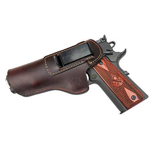 Relentless Tactical The Defender Leather IWB Holster - Fits Most 1911 Style Handguns - Kimber - Colt - S & W - Sig Sauer - Remington - Ruger & More - Made in USA - Brown Right Handed