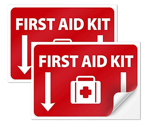 """First Aid Kit Sign, First Aid Sticker for Truck,First Aid Vinyl 7""""X10"""" 4 Mil Thick Sleek Vinyl Decal Stickers Weather Resistant Long Lasting UV Protected and Waterproof Made for Home, Schools and Busi"""