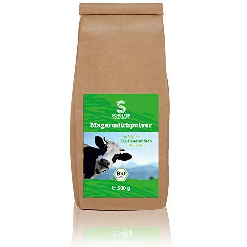 Schoefer Naturprodukte BIO Magermilchpulver - fettarm - 100 % glutenfrei - für Eis, Smoothies, u.v.m. - nachhaltig - 500 g Packung